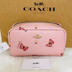 💃COACH SMALL BOXY COSMETIC CASE WITH BUTTERFLY